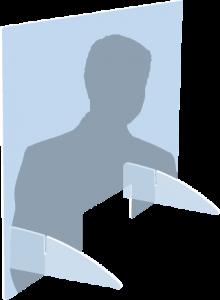 Illustration eines Menschen hinter einer auf einem Tisch aufstellbaren Trennwand