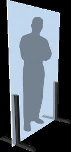 Illustration eines Menschen hinter einer autak aufstellbaren Trennwand in Körpergröße